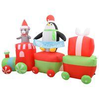 vidaXL Pinguino Gonfiabile sul Treno Natale a LED IP44 350x85x200 cm