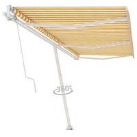 vidaXL Tenda da Sole Autoportante Automatica 600x350 cm Gialla Bianca