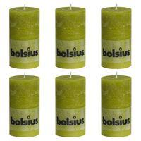 Bolsius Candele Rustiche Moccoli 6 pz 130x68 mm Verde Muschio
