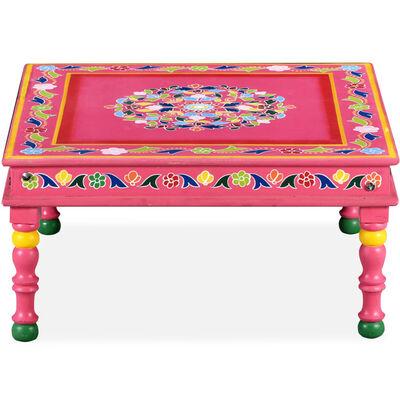 vidaXL Tavolino da Caffè Legno Massello di Mango Rosa Dipinto a Mano