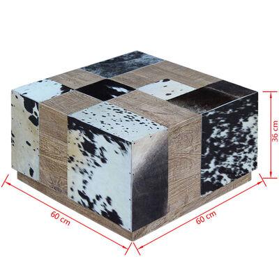 vidaXL Tavolino da Caffè in Vera Pelle Bovina 60x60x36 cm