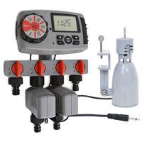 vidaXL Timer Automatico Irrigazione a 4 Vie e Sensore di Pioggia 3V