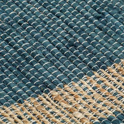 vidaXL Tappeto Artigianale in Juta Blu 160x230 cm