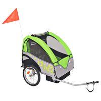 vidaXL Rimorchio da Bici per Bambini Grigio e Verde 30 kg
