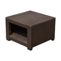 Outsunny Tavolino da Giardino in PE Rattan, Marrone, 56x56x44.5cm