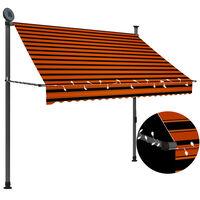 vidaXL Tenda da Sole Retrattile Manuale LED 200 cm Arancione e Marrone