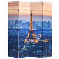 vidaXL Paravento Pieghevole 160x170 cm Stampa Parigi di Notte