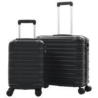 vidaXL Set Trolley a Custodia Rigida 2 pz Nero in ABS
