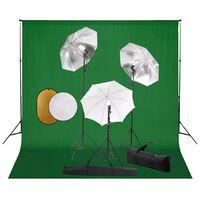 vidaXL Kit Studio Fotografico con Luci Ombrelli Fondale e Riflettore