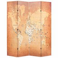 vidaXL Paravento Pieghevole 160x170 cm Stampa Mappa del Mondo Giallo