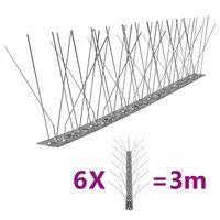 vidaXL Set Dissuasori per Uccelli e Piccioni 6 pz Acciaio 5 File 3 m
