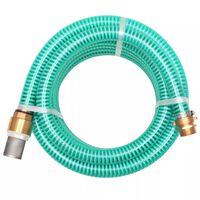 vidaXL Tubo di Aspirazione con Connettori in Ottone 3 m 25 mm Verde