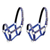 vidaXL Collare da Testa per Cavallo 2 pz in Nylon Taglia Pony Blu