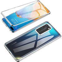 Cover Mobile Bifacciale Con Vetro Temperato - Huawei P40 - Argento