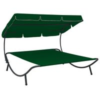 vidaXL Outdoor Lounge Bed with Canopy Green