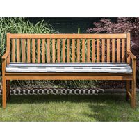 Panca da giardino in legno di acacia con cuscino blu a righe 160 cm VI