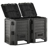 vidaXL Compostiera da Giardino Nera 800 L