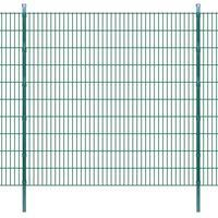Pannello per recinzione da giardino con pali 2008x2030 mm 2 m Verde