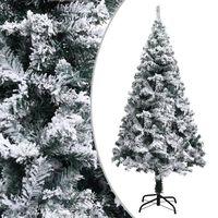 vidaXL Albero di Natale Artificiale Fiocchi di Neve Verde 150 cm PVC