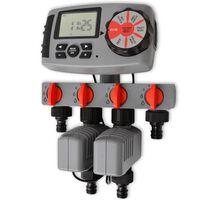 vidaXL Timer Automatico di Irrigazione con 4 Stazioni 3 V