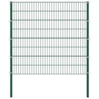 vidaXL Pannello di Recinzione con Pali in Ferro 1,7x1,6 m Verde