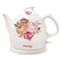 Bestron Bollitore in Ceramica DTP800RO Bianco 0,8L Rose