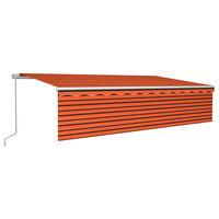 vidaXL Tenda Retrattile Manuale con Parasole e LED 6x3 m Arancio Marrone