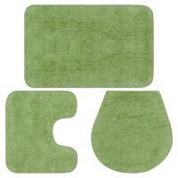 vidaXL Set Tappetini per Bagno 3 pz in Tessuto Verde