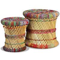 vidaXL Sgabello con Motivi Chindi 2 pz Multicolore in Bambù