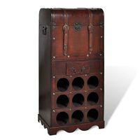 vidaXL Bottigliera in Legno per 9 Bottiglie con Contenitore