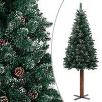 vidaXL Albero di Natale Sottile Legno Vero Verde con Neve Bianca 180cm