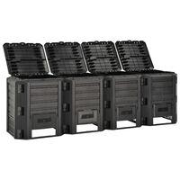 vidaXL Compostiera da Giardino Nera 1600 L