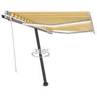 vidaXL Tenda da Sole Retrattile Manuale LED 350x250 cm Gialla e Bianca