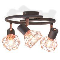 vidaXL Plafoniera con 3 Lampadine LED a Incandescenza 12 W