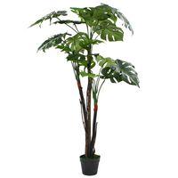 vidaXL Monstera Pianta Artificiale con Vaso 130 cm Verde