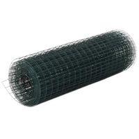 vidaXL Recinzione in Rete per Pollaio in Acciaio e PVC 10x0,5 m Verde