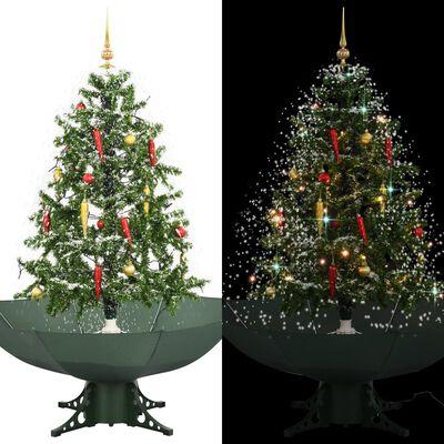 vidaXL Albero di Natale con Neve e Base a Ombrellone Verde 140 cm