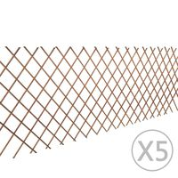 vidaXL Recinzione a Traliccio in Salice 5 pz 180x90 cm