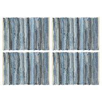 vidaXL Tovagliette 4 pz Chindi Blu Denim 30x45 cm Cotone