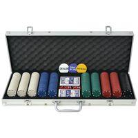 vidaXL Set da Poker con 500 Chips Alluminio