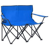 vidaXL Sedia da Campeggio Pieghevole a 2 Posti Acciaio e Tessuto Blu