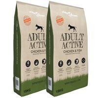 vidaXL Cibo Secco Cani Premium Adult Active Chicken & Fish 2 pz 30 kg