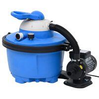 vidaXL Pompa con Filtro a Sabbia Blu e Nera 385x620x432 mm 200W 25L