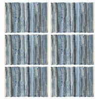 vidaXL Tovagliette 6 pz Chindi Blu Denim 30x45 cm Cotone