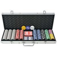 vidaXL Set da Poker con 500 Chips Laser in Alluminio