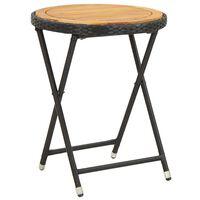 vidaXL Tavolino da Tè Nero 60 cm in Polyrattan e Massello di Acacia