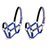 vidaXL Collare da Testa per Cavallo 2 pz in Nylon Taglia Cob Blu