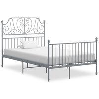 vidaXL Bed Frame Grey Metal and Plywood 120x200 cm