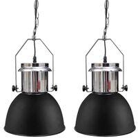 vidaXL Lampada da Soffitto in Metallo Nero Altezza Regolabile Moderna
