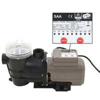 vidaXL Pompa per Piscina con Timer Nera 0,25 HP 8000 L/h